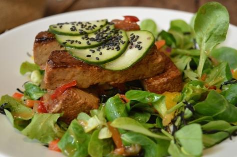 Tofu marinado com rúcula e pepino
